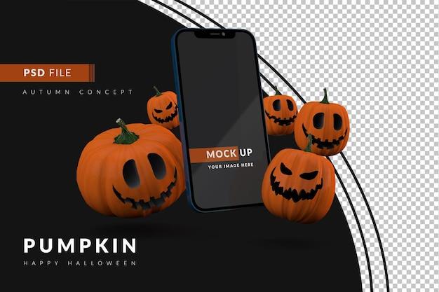 Groep halloween-pompoenen met smartphone een digitaal mockup-displayconcept voor evenement