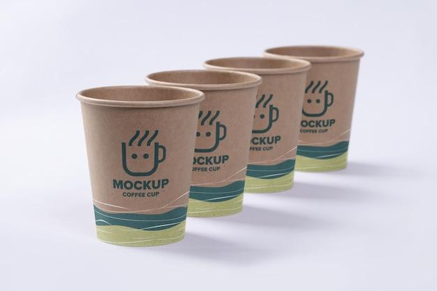 Groep koffiekopje mockup ontwerp