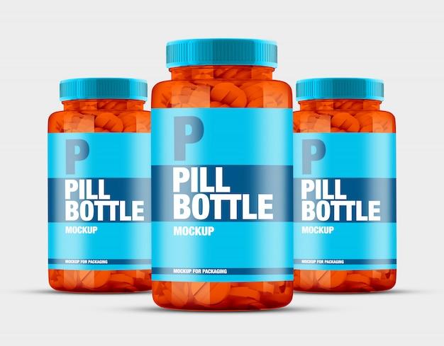 Groep van transparant pillenflessenmodel