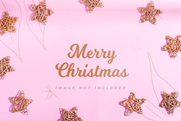 Groet nieuwjaarskaart mockup met sterren en decoratie.