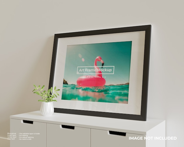 Groot horizontaal art frame poster mockup bovenop de witte kast