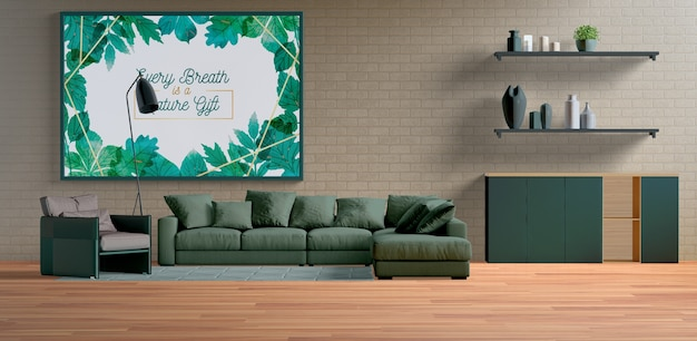 Groot minimalistisch schilderij frame in de woonkamer