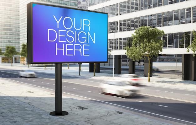 Groot reclamebord op 3d-rendering langs de weg