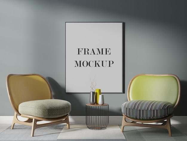 Groot verticaal frame-mockup in een prachtig interieur