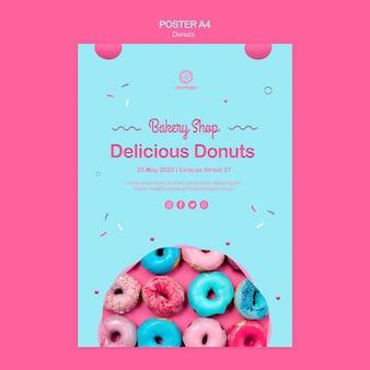 Grootse opening regenboog donuts flyer sjabloon