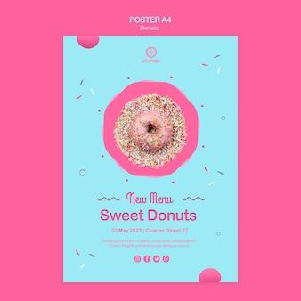 Grootse opening regenboog donuts poster sjabloon