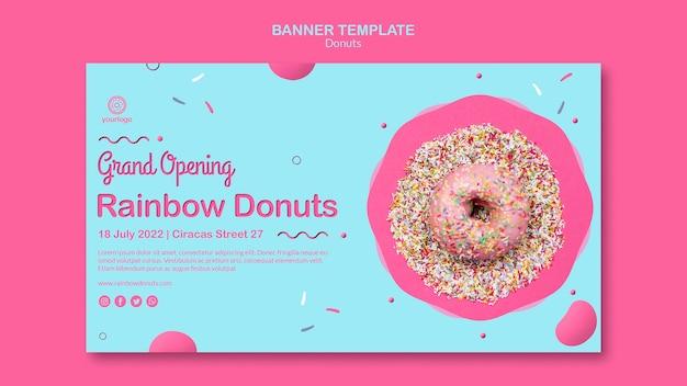 Grootse opening regenboog donuts sjabloon voor spandoek