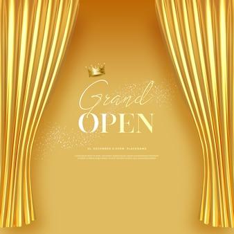 Grootse opening tekstsjabloon met luxe gouden zijde fluwelen gordijnen.