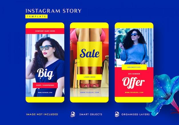 Grote aanbieding instagram-verhalenverhalen-sjabloon