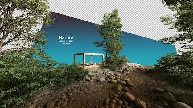 Grote buitenhangmat in een klein paviljoen in de buurt van beekjes en rivierplanten beekomgeving Premium Psd