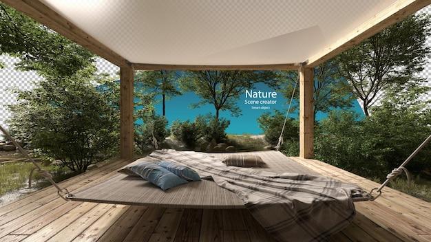 Grote buitenhangmat in een klein paviljoen in de buurt van beekjes en rivierplanten beekomgeving