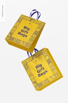 Grote geschenkzakken met mockup met linthandvat