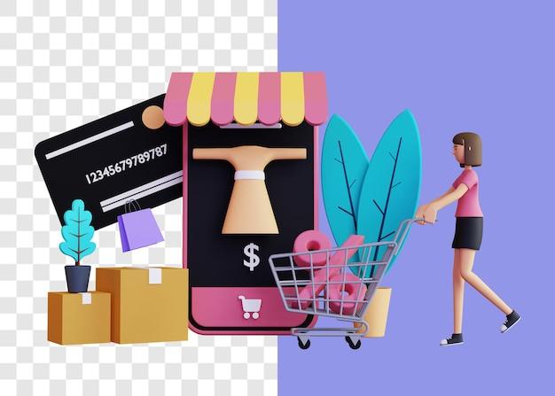 Grote korting 3d illustratie concept met trolley