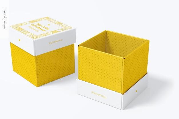 Grote kubus geschenkdozen mockup, geopend en gesloten
