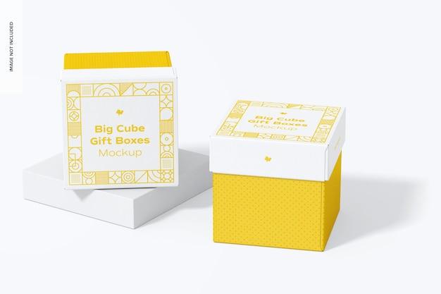 Grote kubus geschenkdozen mockup, perspectief