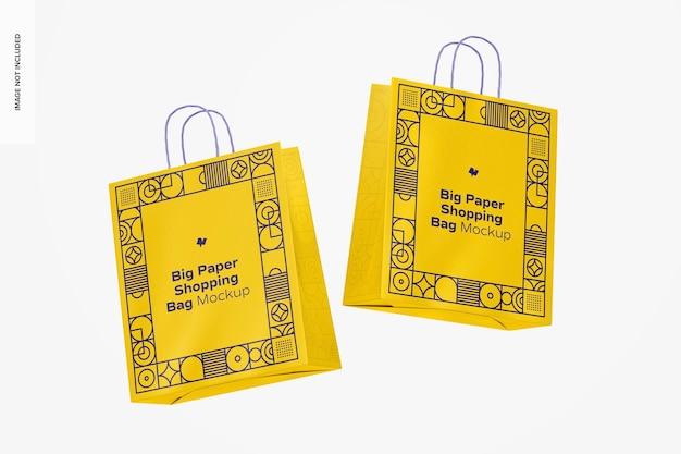 Grote papieren boodschappentassen mockup, drijvend