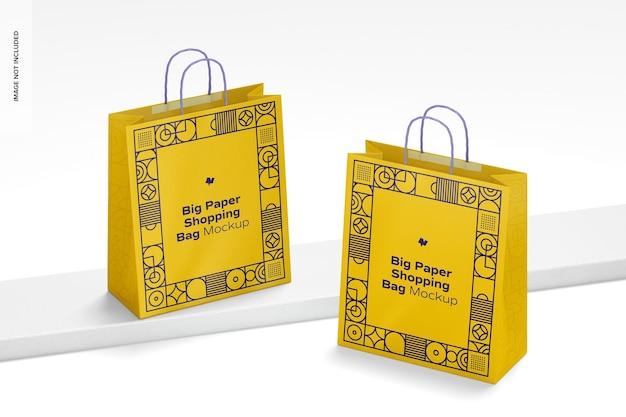 Grote papieren boodschappentassen mockup, perspectief
