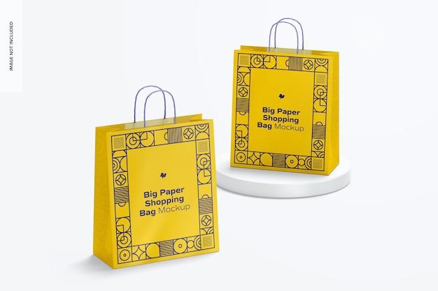 Grote papieren boodschappentassen mockup