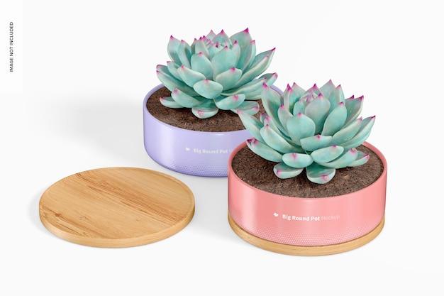 Grote ronde potten met bamboe dienblad mockup