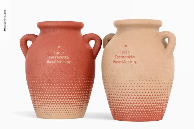 Grote terracotta vazen met handvatten mockup
