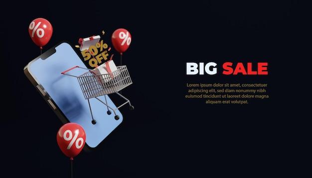 Grote verkoop banner mockup online winkelen