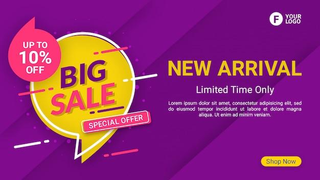 Grote verkoop banner sjabloon promotie