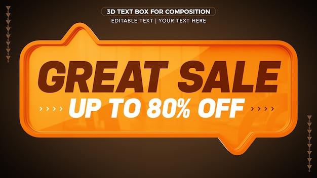 Grote verkoop d-tekstvak met korting in 3d-rendering