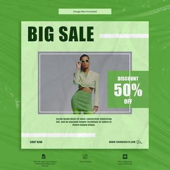 Grote verkoop dan korting groene mode instagram sociale media sjabloon premium