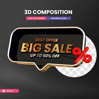 Grote verkoop in 3d-tekstvak met maximaal 50 procent
