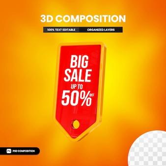 Grote verkoop in 3d-tekstvak met tot wel 50 procent korting