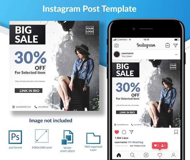 Grote verkoop mode verkoop korting sociale media post sjabloon
