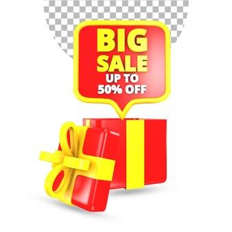 Grote verkoopaanbieding met rode en gele verrassingsgeschenkdoos 3d render geïsoleerd