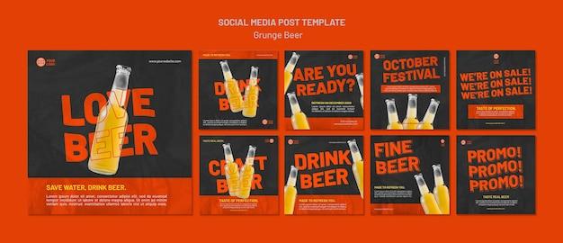 Grunge bier sociale media post sjabloon