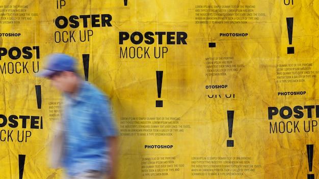 Grunge muur poster collage mockup realistisch