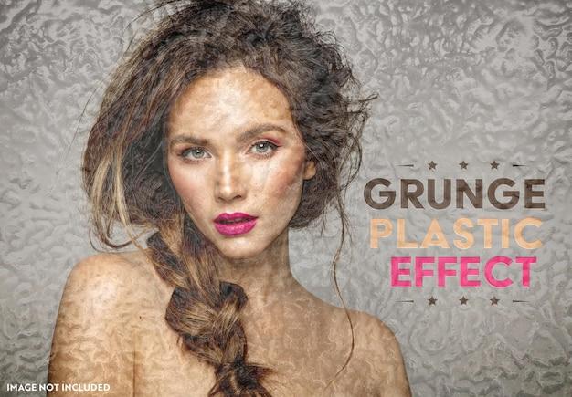 Grunge plastic foto-effect mockup