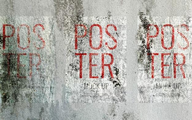 Grunge print poster op betonnen muur mockup realistisch