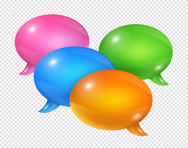 Grupo 3d de burbujas de discurso coloreado aislado