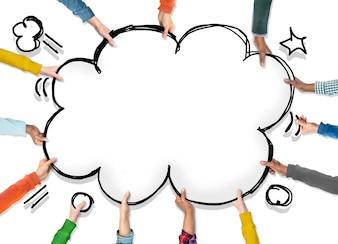 Grupo de mãos com conceito de Pop Art