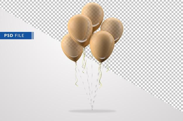 Grupo de globos amarillos aislado en el fondo