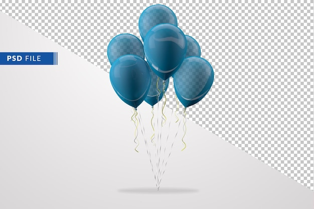 Grupo de globos azules aislado en el fondo