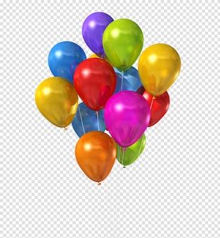 Grupo de globos multicolores aislado en blanco