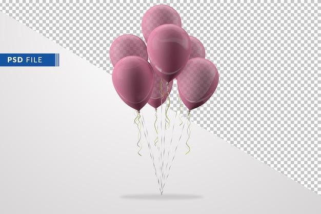 Grupo de globos rosa aislado en el fondo