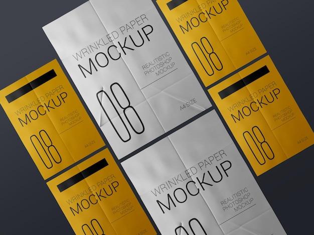 Un grupo de maquetas de plantilla de póster arrugado realista. maqueta de carteles arrugados húmedos de papel encolado,.