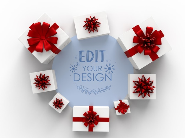 Grupo de regalos formando una forma redonda.