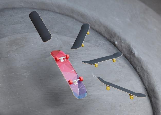 Gruppo di skateboard galleggianti in aria