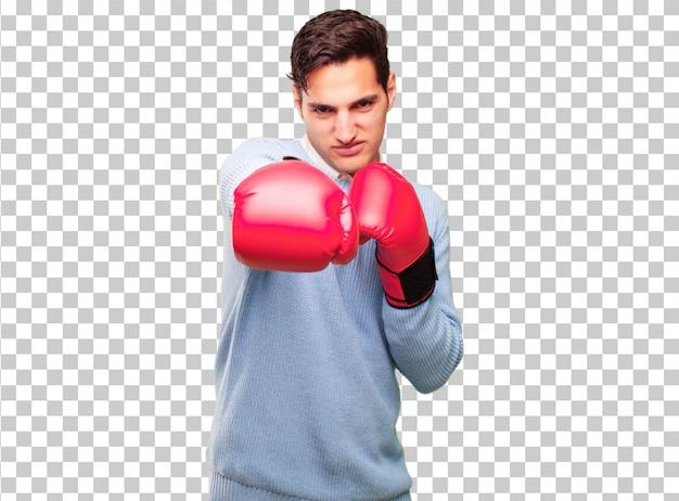 Guantes de boxeo que llevan bronceados hermosos jovenes del hombre