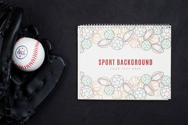 Guanto da baseball e palla professionali vista dall'alto