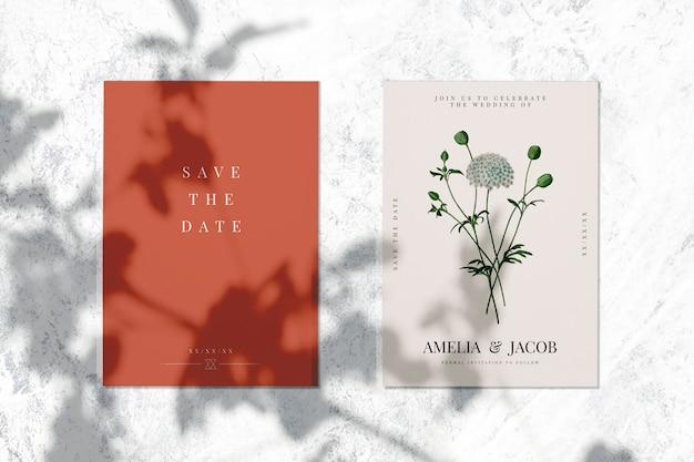 Guardar la fecha de boda invitación tarjeta maqueta