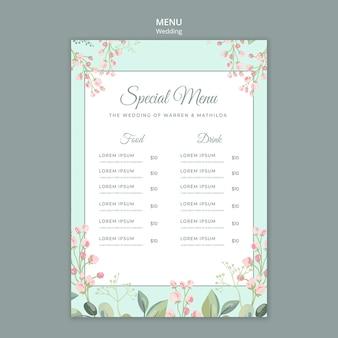 Guardar la plantilla de menú de boda floral de fecha