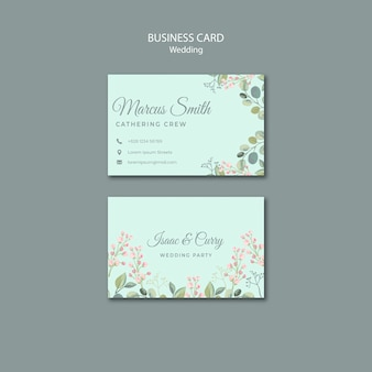 Guardar la plantilla de tarjeta de visita de boda floral de fecha